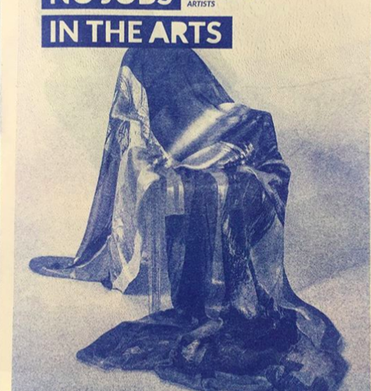No Jobs in the Arts Cover - a sketched union flag draped over a chair