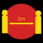 2m apart
