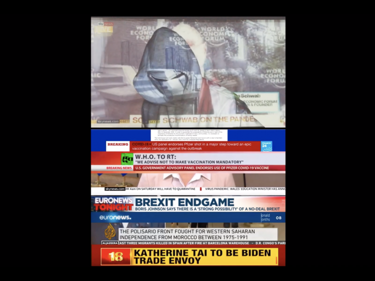 A collection of images from news channels