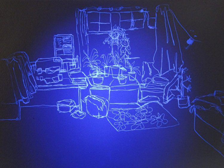 An invisible ink drawing on watercolour paper. Lit centrally by ultraviolet light, the linework appears white on a blue background, darker at teh edges. A drawing of a room is created from a continuous line. A central table can be seen filled with houseplants, behind the table is a window and below the table is a rug with a flower pattern. The corner of a bed can be seen in the bottom right-hand side of the drawing, and a desk and clothes rail can be seen in the left-hand side of the drawing.