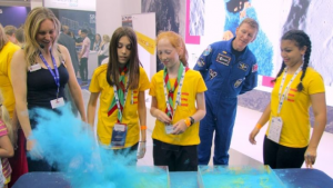 Tim Peake with Dr Suzie Imber and schoolchildren at the National Space Centre in Leicester.