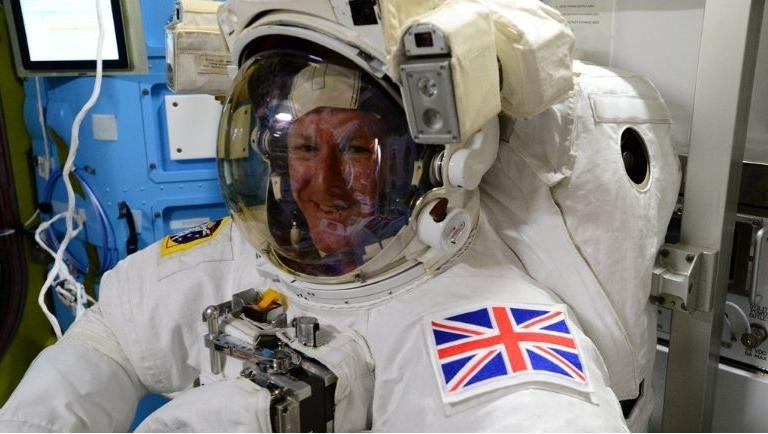 Tim Peake in a space suit