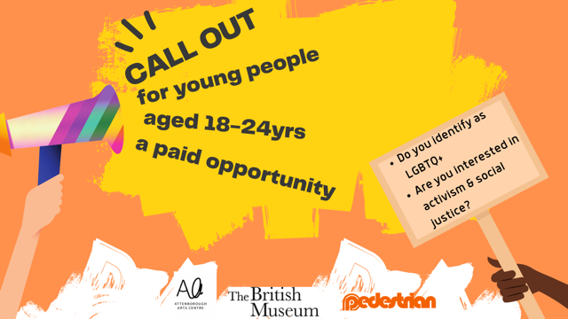 An illustrated call out of the 'Where we are' project with a hand holding a multicolured loudspeaker with the following words pouring out: call out for young people ages 18-24 years, a paid opportunity. Do you identify as LGBTQ+, are you interested in activism and social justice?