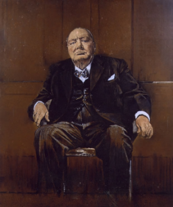 A painting of a man seated