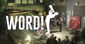 People seated in an outdoor performance, with the word 'WORD!' overlaid.