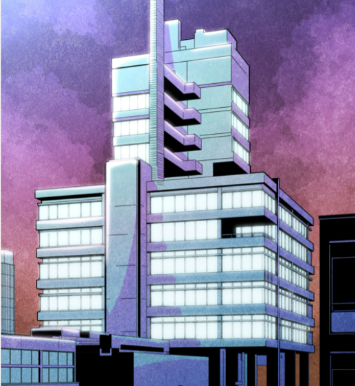 a watercolour of the charles wilson building in blues and purples