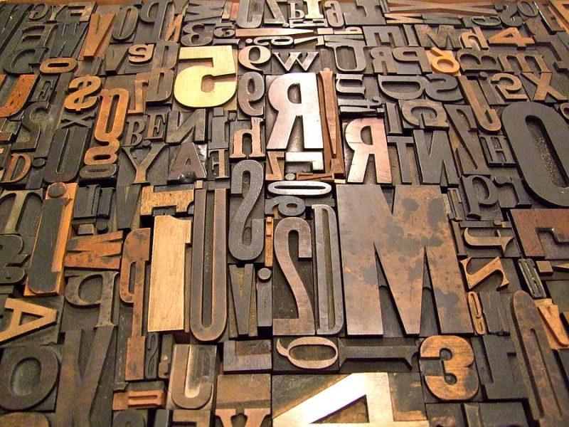 steel, block letters, slighty rusted