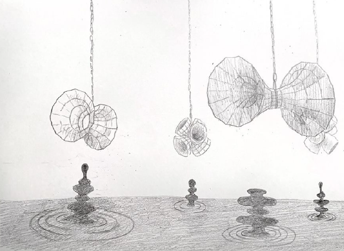 A sketch of a plan for the exhibition with the various sculptures and objects hanging/laid out accordingly